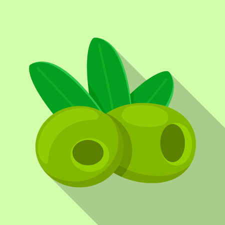 Green olives food icon. Flat illustration of green olives food vector icon for web design Ilustracja