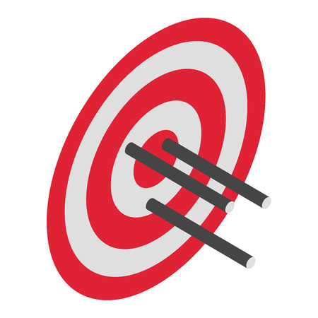 Red arrow target icon. Isometric of red arrow target vector icon for web design isolated on white background 向量圖像
