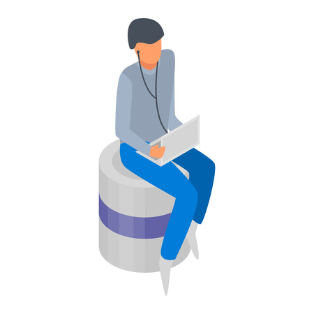 Man with laptop icon. Isometric of man with laptop vector icon for web design isolated on white background