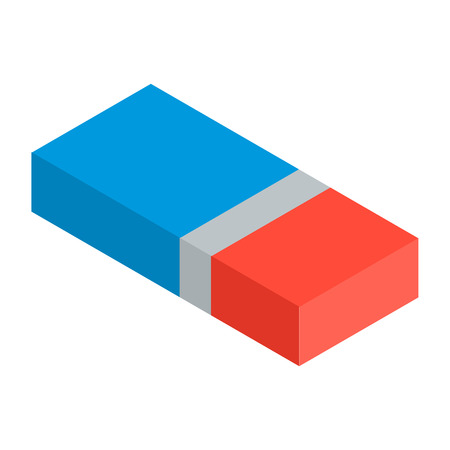 Blue red eraser icon. Isometric of blue red eraser vector icon for web design isolated on white background