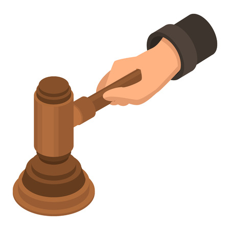 Hammer Handsymbol zu beurteilen. Isometrische des Richterhammerhandvektorsymbols für das Webdesign lokalisiert auf weißem Hintergrund