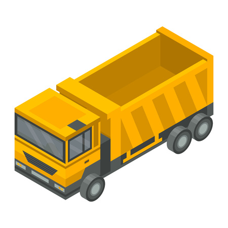 Construction truck icon. Isometric of construction truck vector icon for web design isolated on white background