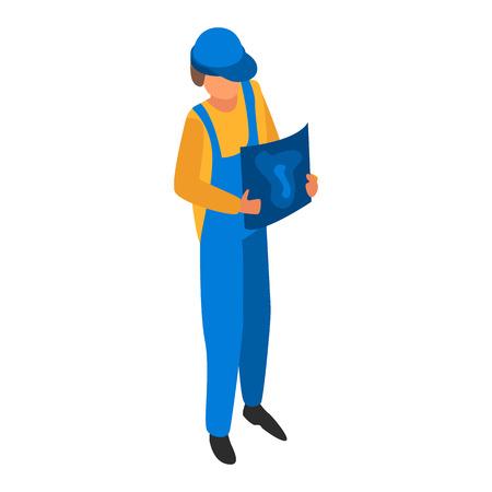 Mann-Ingenieur-Bau-Symbol. Isometrische der Manningenieurbauvektorikone für das Webdesign lokalisiert auf weißem Hintergrund