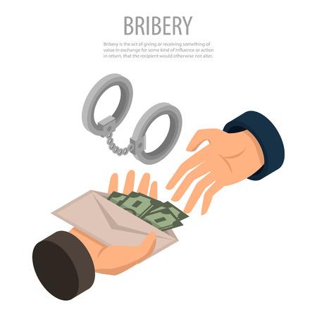 Bribery concept background, isometric style