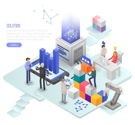 Solution concept background. Isometric illustration of solution vector concept background for web design