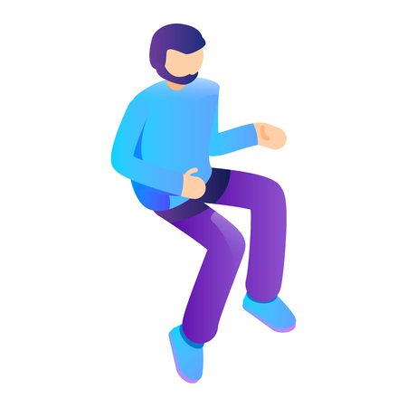Man jump up icon. Isometric of man jump up vector icon for web design isolated on white background  イラスト・ベクター素材