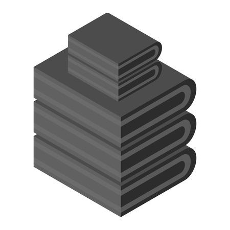 Black towel stack icon, isometric style