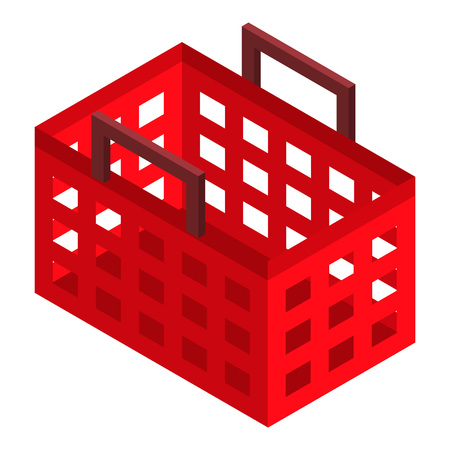 Red shop basket icon. Isometric of red shop basket vector icon for web design isolated on white background