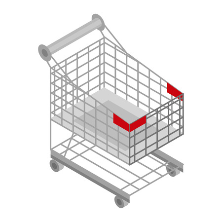 Shop cart icon. Isometric of shop cart vector icon for web design isolated on white background