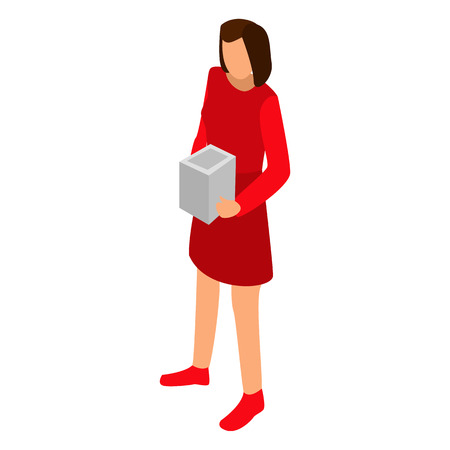 Woman red dress icon, isometric style