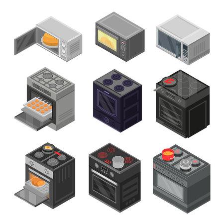 Backofen-Icon-Set. Isometrischer Satz Ofenvektorikonen für das Webdesign lokalisiert auf weißem Hintergrund Vektorgrafik