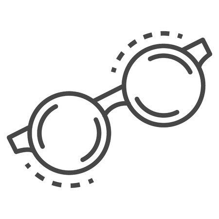 Round glasses icon. Outline round glasses vector icon for web design isolated on white background Illustration