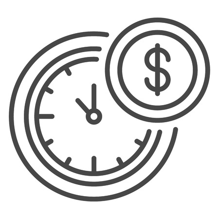 Time is money icon, outline style Vector Illustration