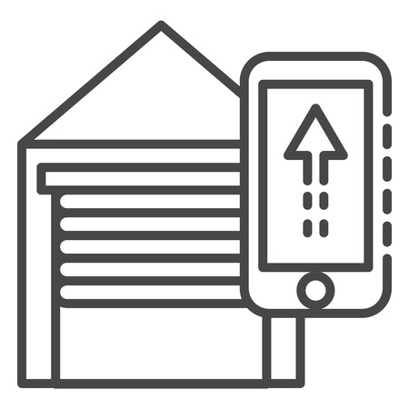Smart open garage icon, outline style