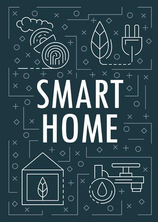Smart home banner. Outline illustration of smart home vector banner for web design Иллюстрация