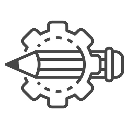 Cog wheel pencil icon, outline style