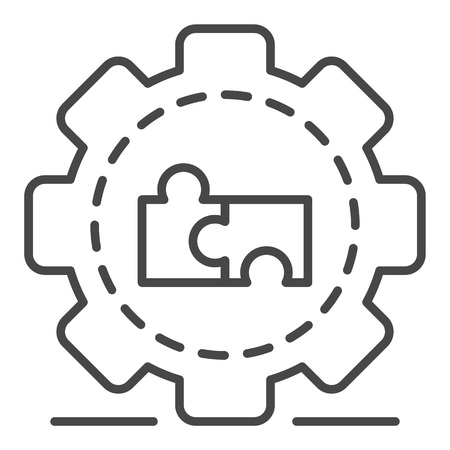 Full puzzle cog wheel icon. Outline full puzzle cog wheel vector icon for web design isolated on white background