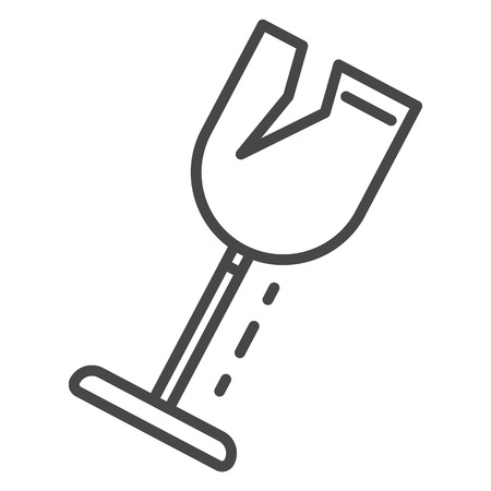 Crack wine glass icon. Outline crack wine glass vector icon for web design isolated on white background