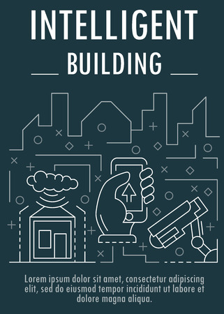 Intelligent building banner, outline style