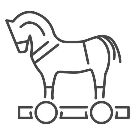 Trojan horse virus icon. Outline trojan horse virus vector icon for web design isolated on white background