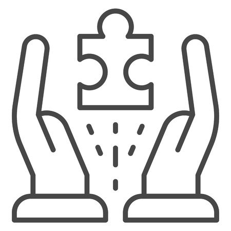 Hands hold one puzzle icon. Outline hands hold one puzzle vector icon for web design isolated on white background