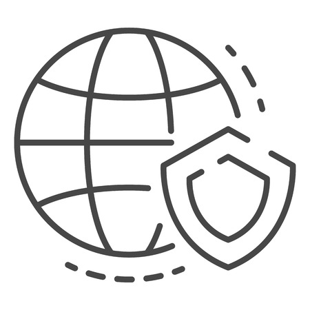 Secured global data icon, outline style Illustration