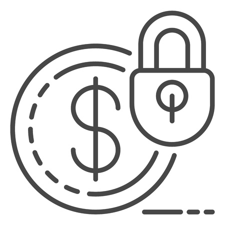 Secured money icon. Outline secured money vector icon for web design isolated on white background