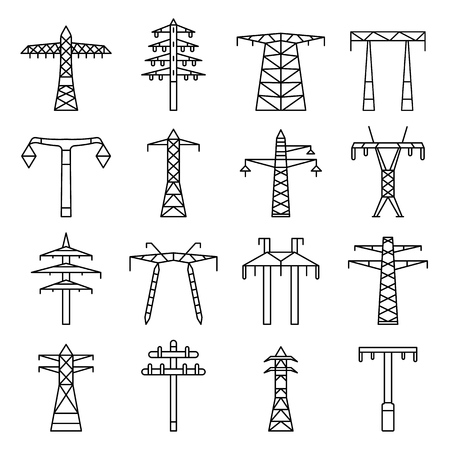 Electrical tower icon set. Outline set of electrical tower vector icons for web design isolated on white background