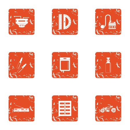 Version icons set. Grunge set of 9 version vector icons for web isolated on white background