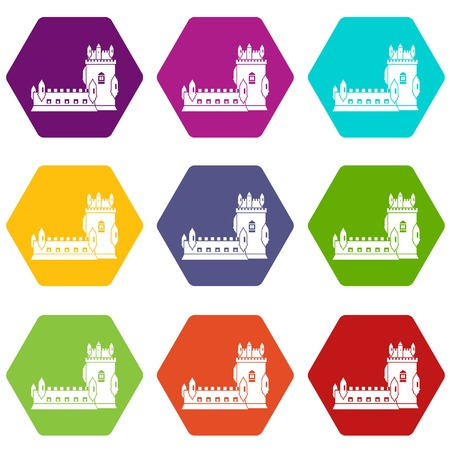History castle icons 9 set coloful isolated on white for web