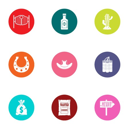 Mexican day icons set. Flat set of 9 mexican day vector icons for web isolated on white background
