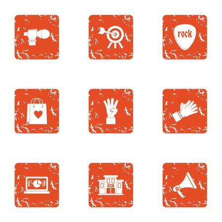 Rock euphony icons set. Grunge set of 9 rock euphony vector icons for web isolated on white background