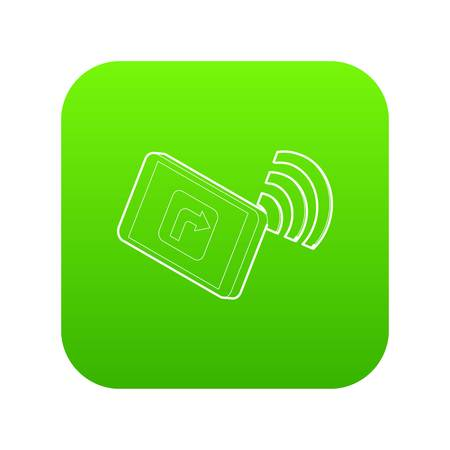 Tablet pc with gps and wifi sign icon green vector Illustration