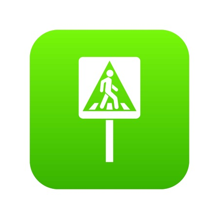 Pedestrian sign icon digital green for any design isolated on white vector illustration  イラスト・ベクター素材