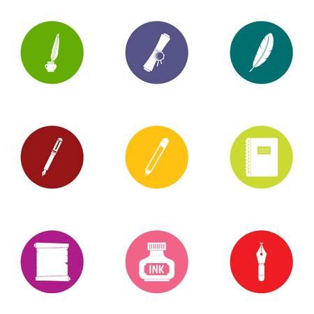 Written affiliation icons set. Flat set of 9 written affiliation vector icons for web isolated on white background Ilustração