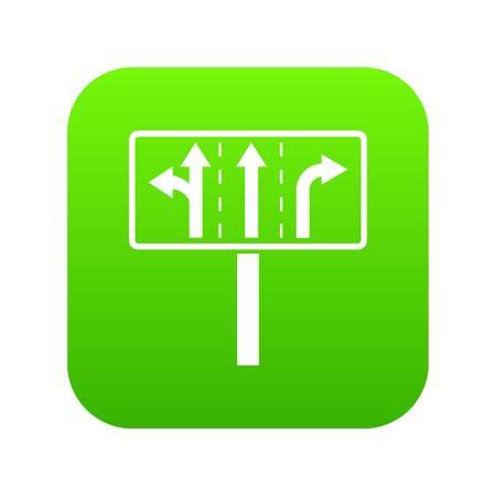 Traffic lanes at crossroads junction icon digital green for any design isolated on white vector illustration Ilustração