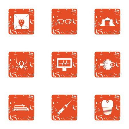 Rehabilitation icons set. Grunge set of 9 rehabilitation vector icons for web isolated on white background