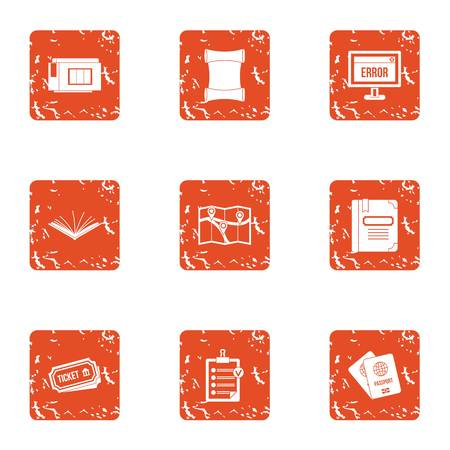 Travel error icons set. Grunge set of 9 travel error vector icons for web isolated on white background Banque d'images - 130231789