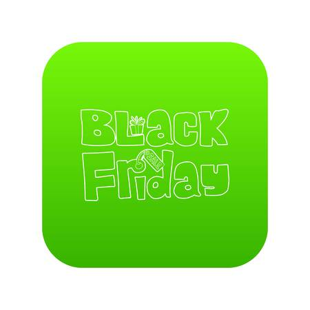 Black Friday icon green vector isolated on white background