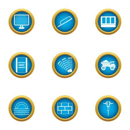 Elaboration icons set. Flat set of 9 elaboration vector icons for web isolated on white background