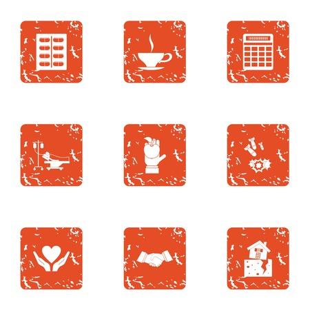 Medical donate icons set. Grunge set of 9 medical donate vector icons for web isolated on white background Illustration