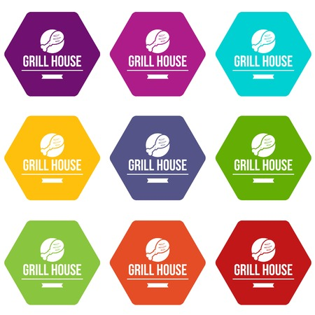 Grill chicken icons 9 set coloful isolated on white for web