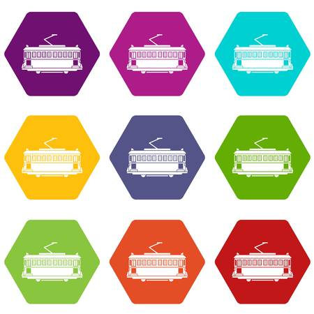 Tram icons 9 set coloful isolated on white for web