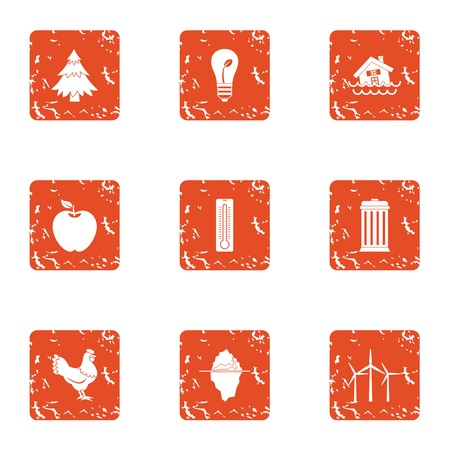 Treacherous life icons set. Grunge set of 9 treacherous life vector icons for web isolated on white background Çizim