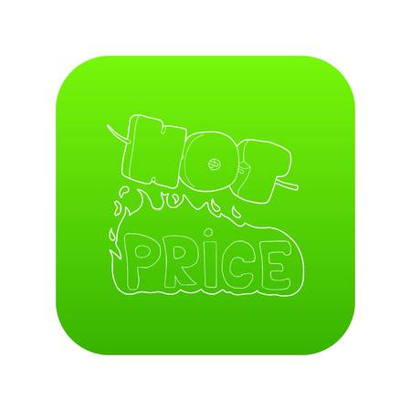 Hot price lettering icon green vector isolated on white background Illustration