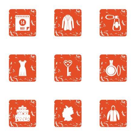 Jeu d'icônes de biais. Ensemble grunge de 9 icônes vectorielles de biais pour le web isolé sur fond blanc