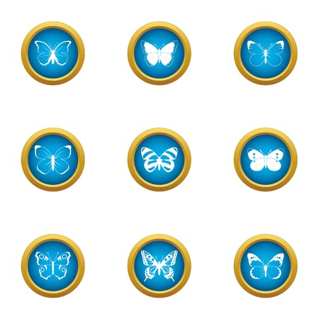 Butterfly pattern icons set. Flat set of 9 butterfly pattern vector icons for web isolated on white background  イラスト・ベクター素材