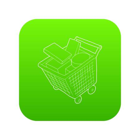 Sale shopping cart with boxes icon green vector isolated on white background