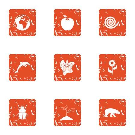 Long life icons set. Grunge set of 9 long life vector icons for web isolated on white background