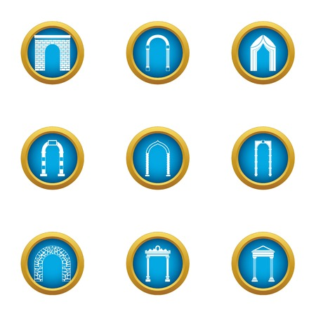 Alley icons set. Flat set of 9 alley vector icons for web isolated on white background